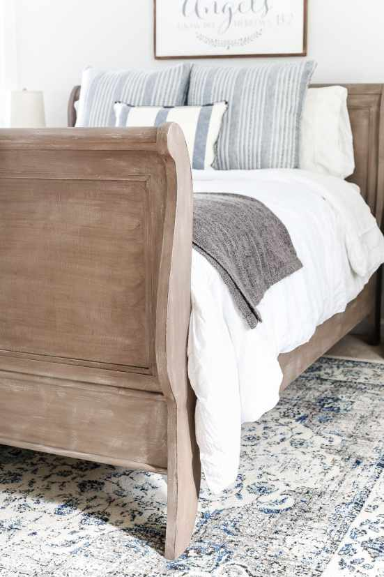 Painted Weathered Wood Bed Makeover   blesserhouse.com - A thrifted bed gets a painted weathered wood Restoration Hardware look with no messy furniture stripping and in 3 quick steps.