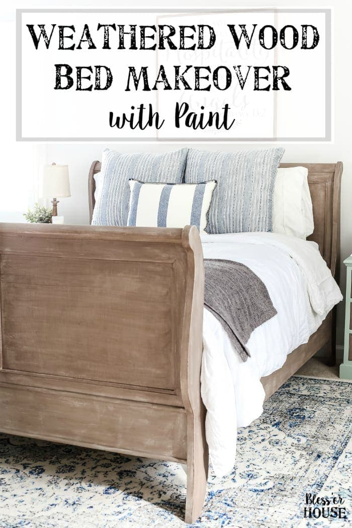 Painted Weathered Wood Bed Makeover Blesser House