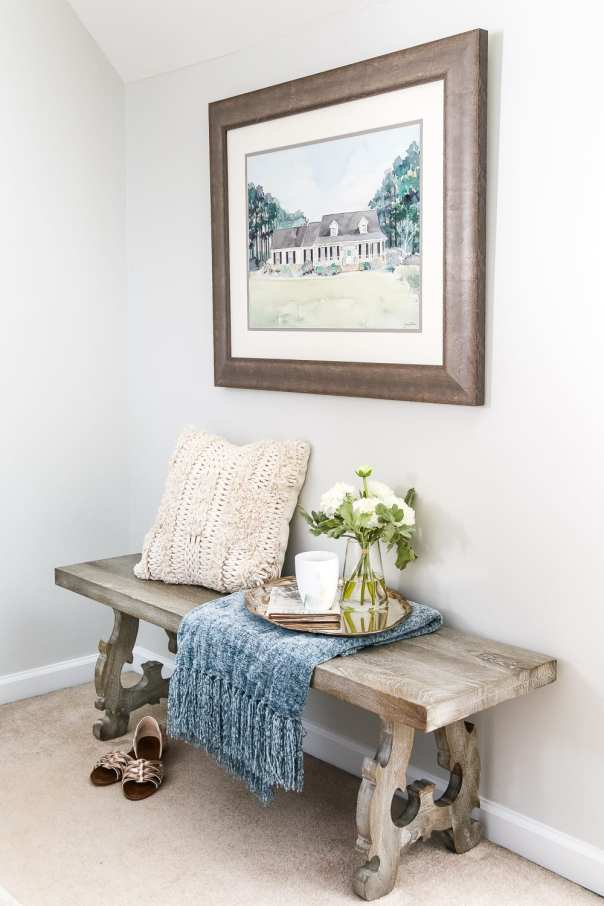 Blue Cottage Style Guest Bedroom Makeover | blesserhouse.com - A dark and dated guest bedroom gets a cottage style makeover with serene shades of blue using Craigslist furniture and budget-friendly finds.