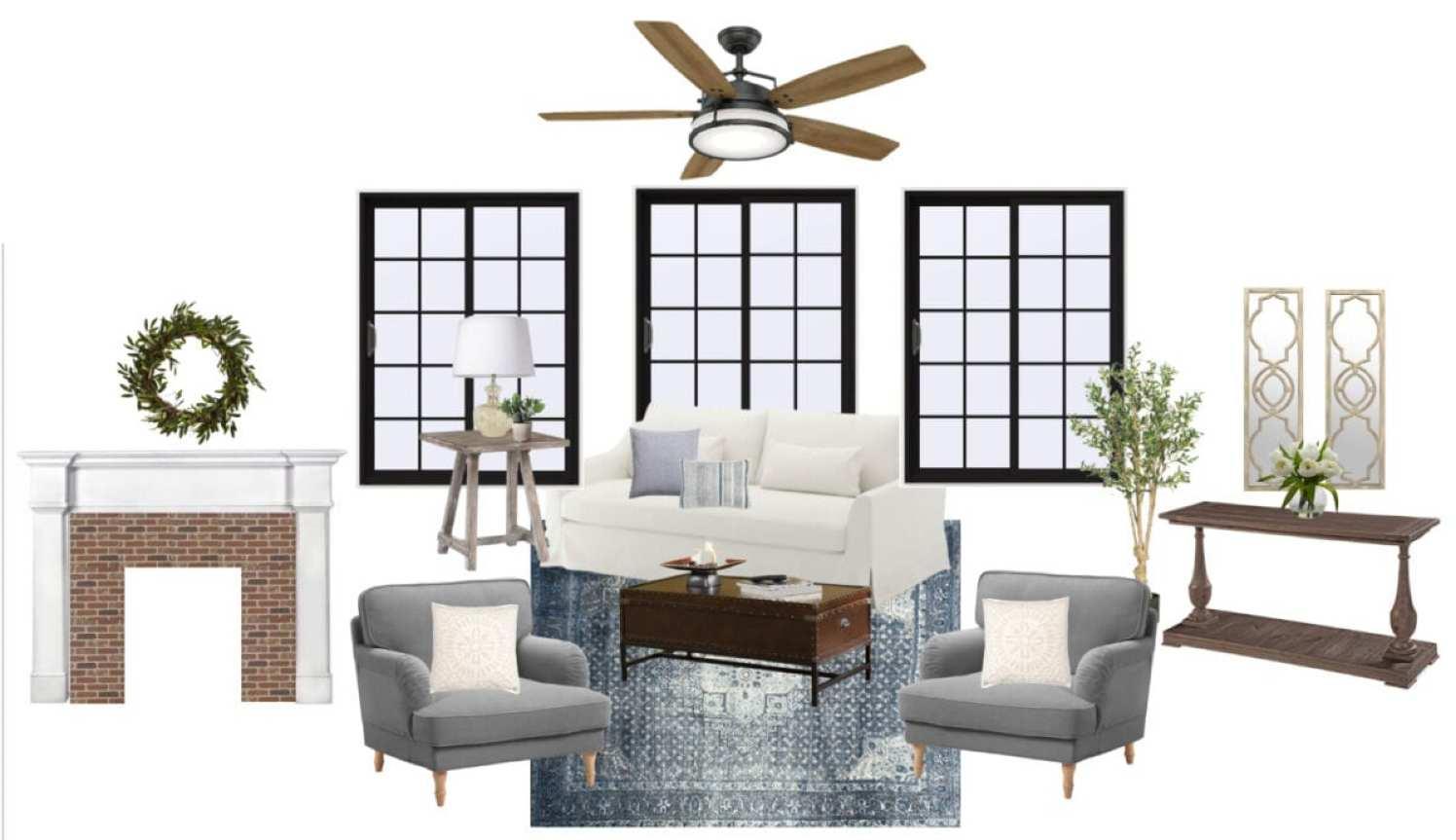 Modern Colonial Living Room Design Plan | blesserhouse.com