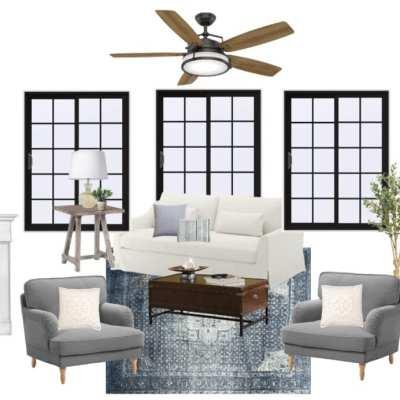 Modern Colonial Living Room Design Plan