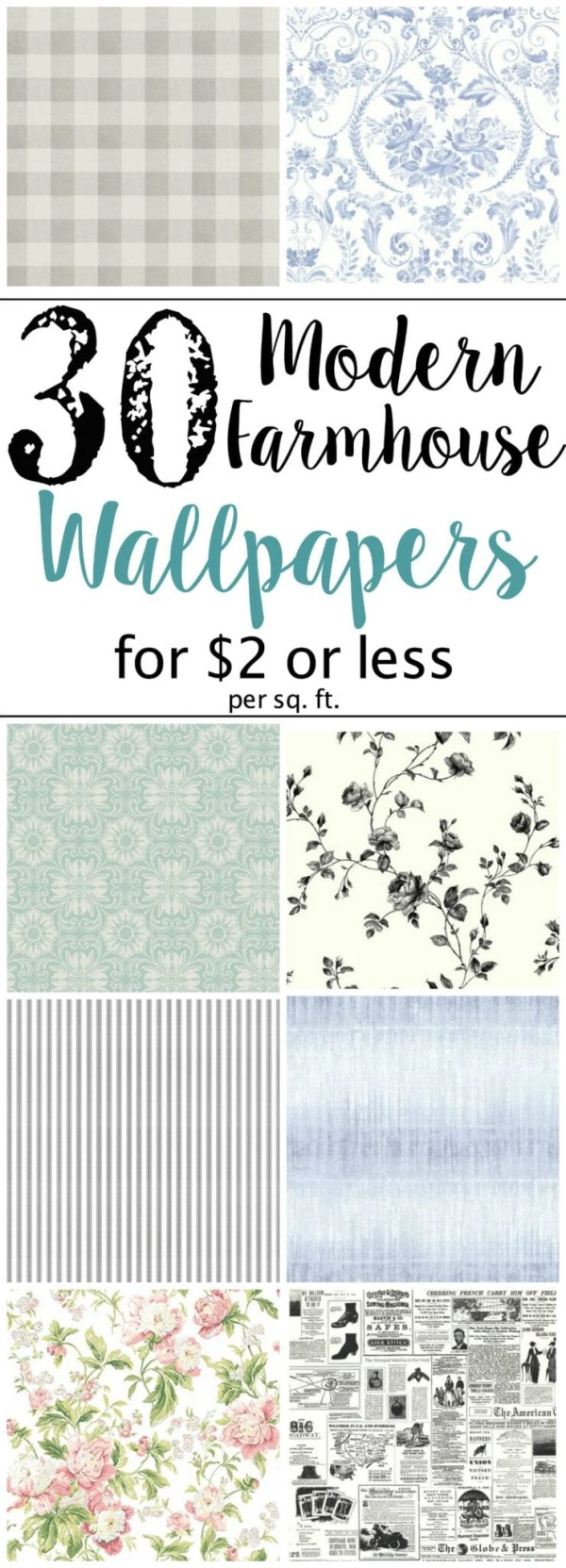 30 Modern Farmhouse Wallpaper Designs on a Budget | blesserhouse.com - A budget-friendly shopping guide with 30 of the best modern farmhouse style wallpaper designs for $2 or less per square foot.