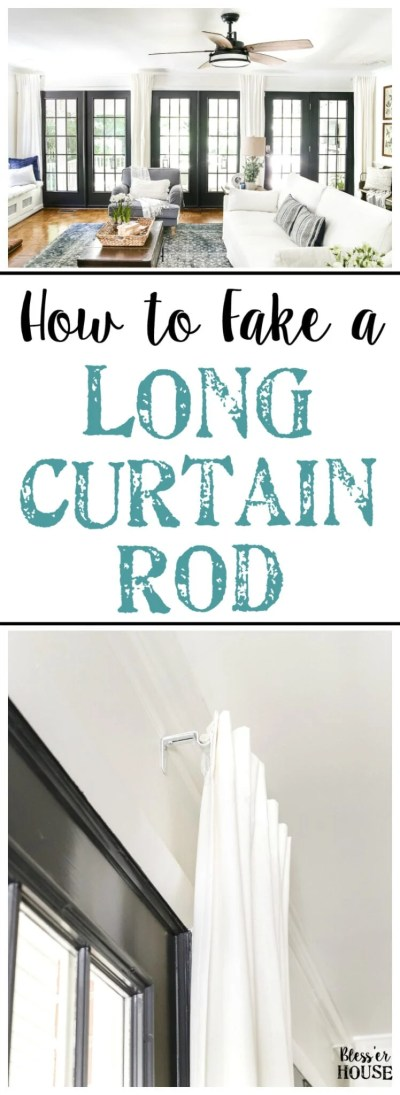 How to Fake a Long Curtain Rod | blesserhouse.com - A simple, inexpensive trick to fake the look of a long curtain rod, plus how to hang curtains to make windows and rooms look bigger.