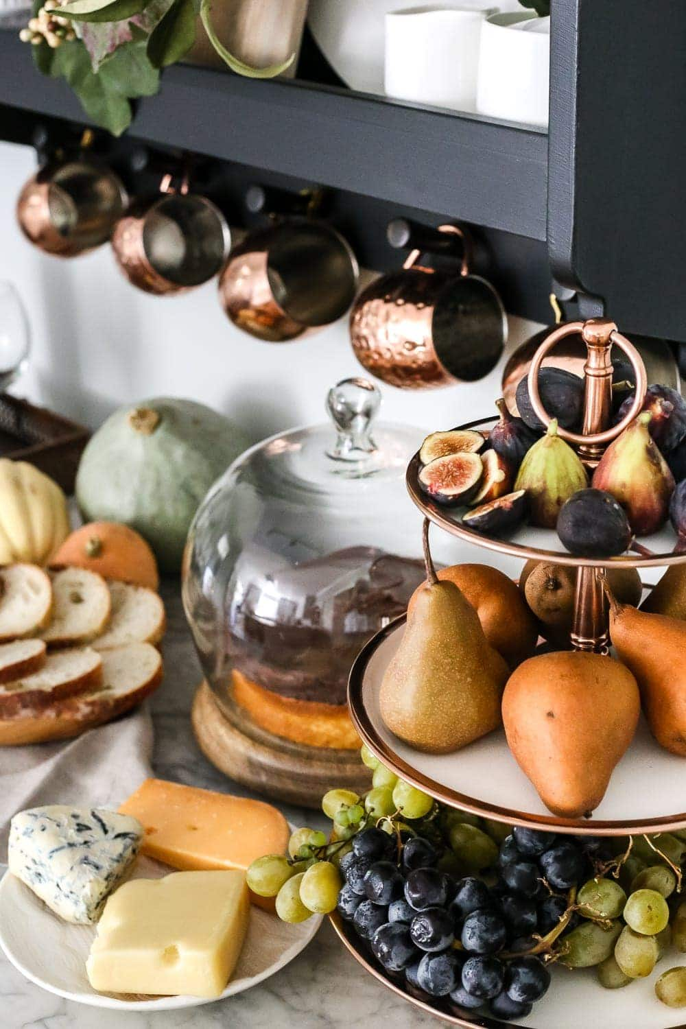 tiered copper tray with fruit