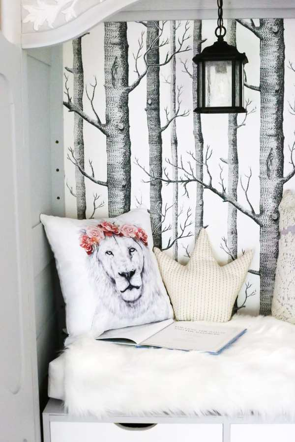 DIY Narnia Wardrobe Reading Nook | blesserhouse.com - A plain, thrifted armoire gets a sweet, fairytale-like makeover as a reading nook based on the story of The Lion, the Witch, and the Wardrobe.