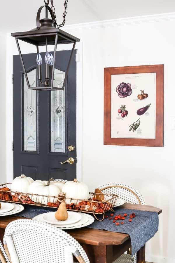 Simple Autumn Tea Towel Art | blesserhouse.com - A simple, budget-friendly way to create wall decor with framed tea towel art.