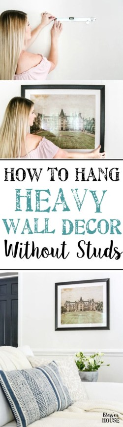 How to Hang Heavy Wall Decor Without Studs | blesserhouse.com - One handy little tool to use when hanging heavy wall decor on drywall that's not on a stud. (With little damage and an easy way to level!)
