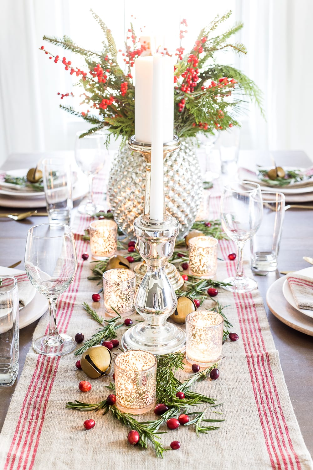 Mercury Glass Christmas Tablescape Blesser House