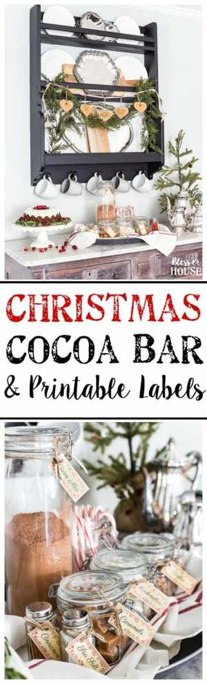 Cozy Hot Cocoa Bar & Printable Labels | blesserhouse.com - A cozy hot cocoa bar vignette set up for Christmas plus a free printable label set for toppings and mix-ins. #cocoabar #Christmasdecor #Christmaskitchen #printablelabels