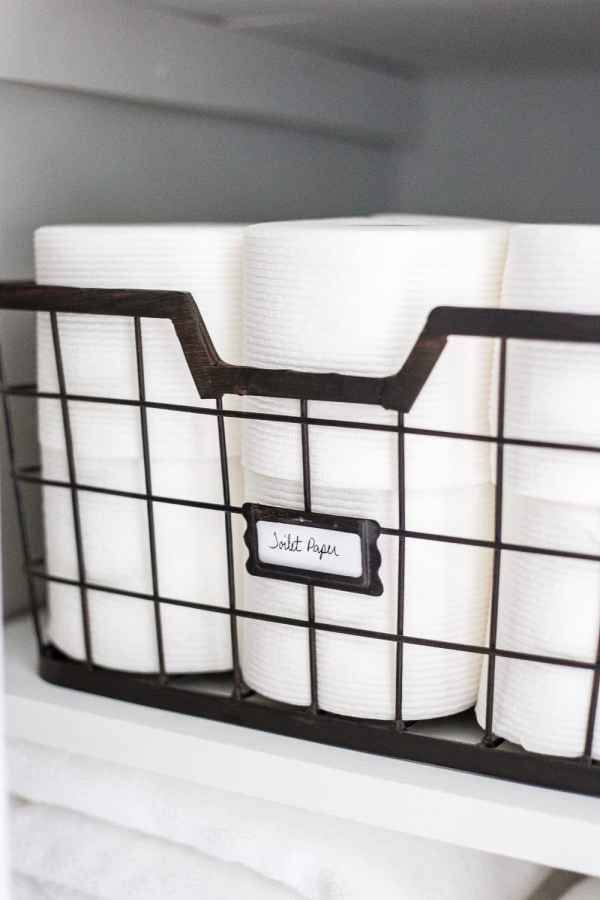 Linen Closet Organization Makeover | blesserhouse.com - 7 tips for perfect linen closet organization for the best ways to sort sheets, keep cleaning supplies handy, make laundry easier, and have guest amenities in easy reach. #organizing #linencloset #organization #bathroomorganizing