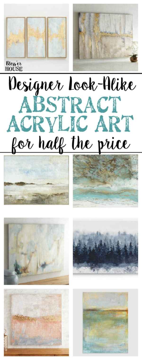 30 gorgeous abstract acrylic art canvases for half the price of the designer brands for soft colorful accents in any room. #art #homedecor #walldecor #designerknockoff #abstractart