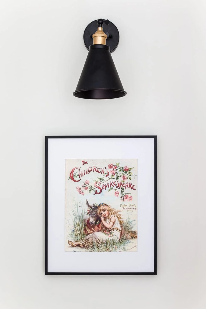 Simple Thermostat Cover and Hallway Progress | A dark, beige hallway gets a light and bright makeover, plus a solution for creating an inexpensive thermostat cover and sconce lighting without the electrical work. #thermostatcover #hallway #hallwaymakeover #beforeandafter #sconce #sconcelight #walldecor #wallart #budgetdecor #freeart #decortrick #eyesorecover Free Public Domain Shakespeare Art