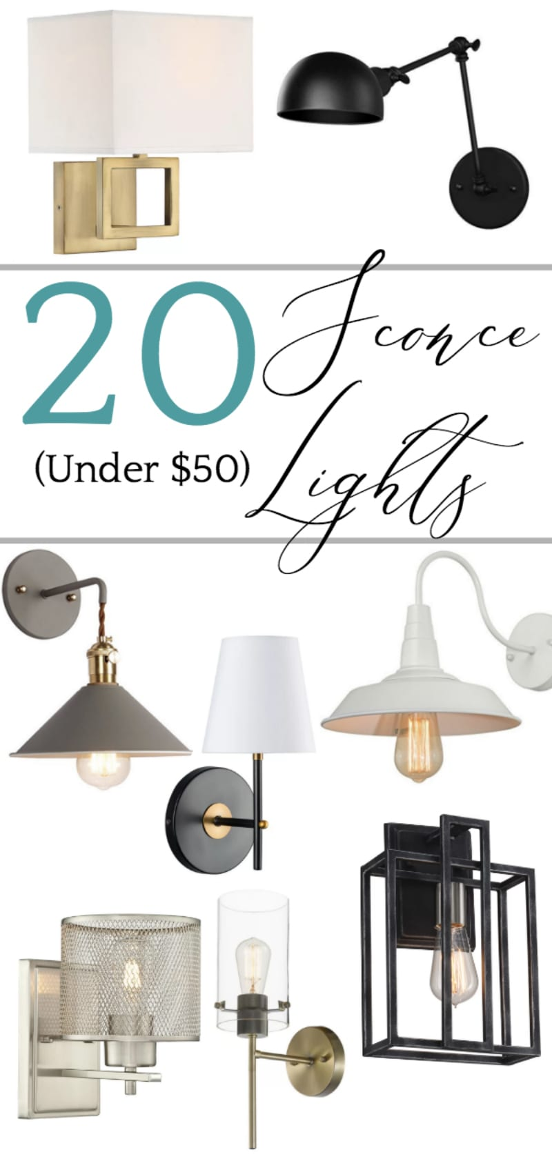 A budget shopping guide with 20 sconce lights for a tight budget under $50 with DIY ideas for how to use them even without hiring an electrician.