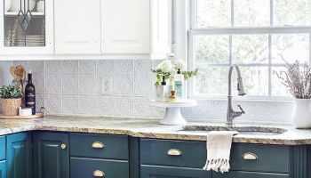 DIY Pressed Tin Kitchen Backsplash - Bless'er House on