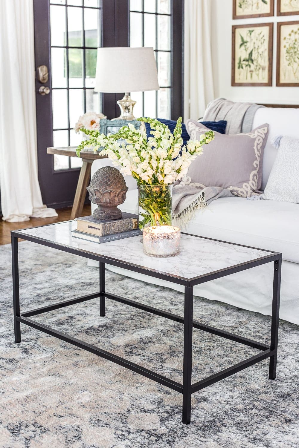 Faux marble top IKEA coffee table hack