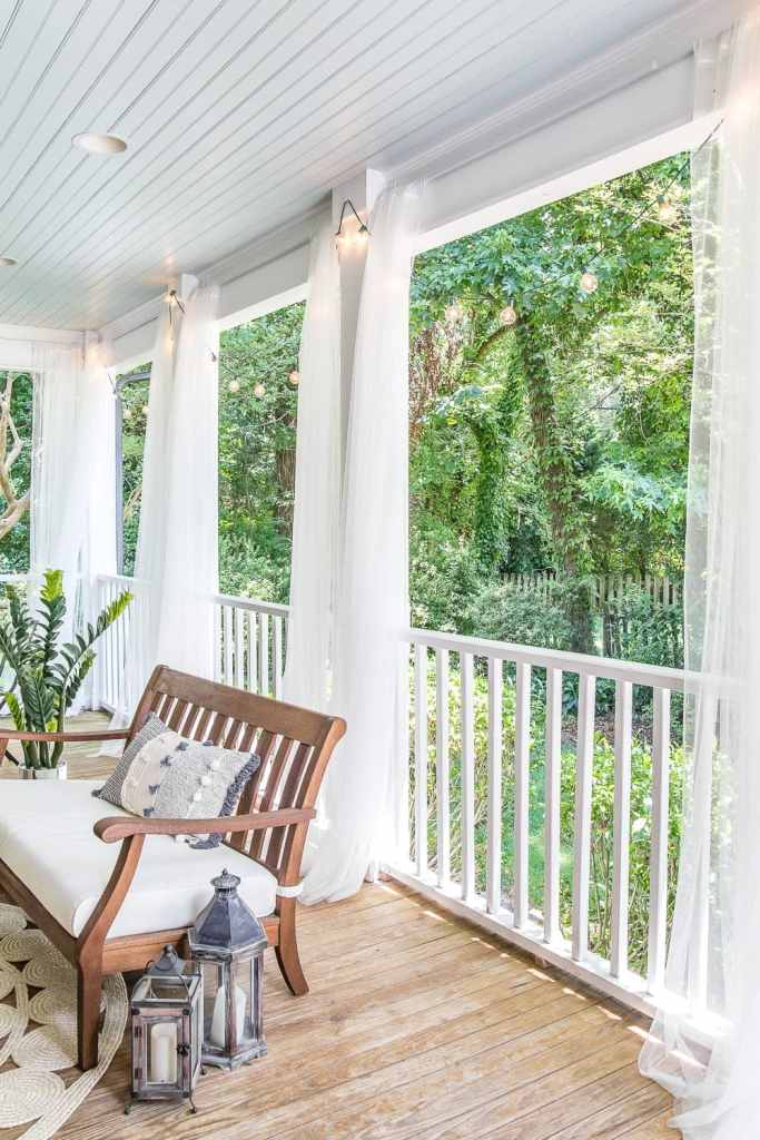back porch outdoor curtains with haint blue ceiling
