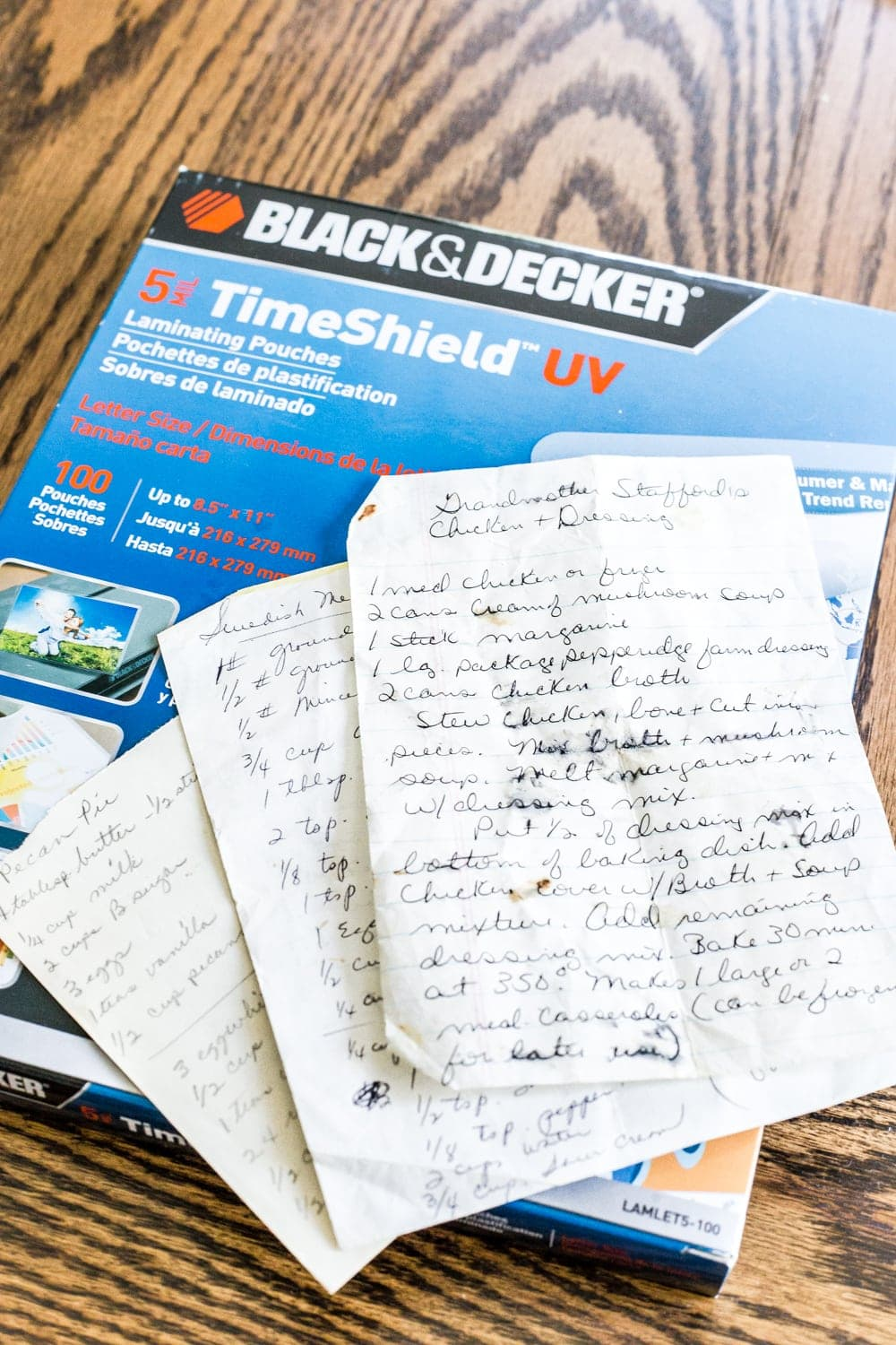 How to preserve handwritten recipes and letters for framing