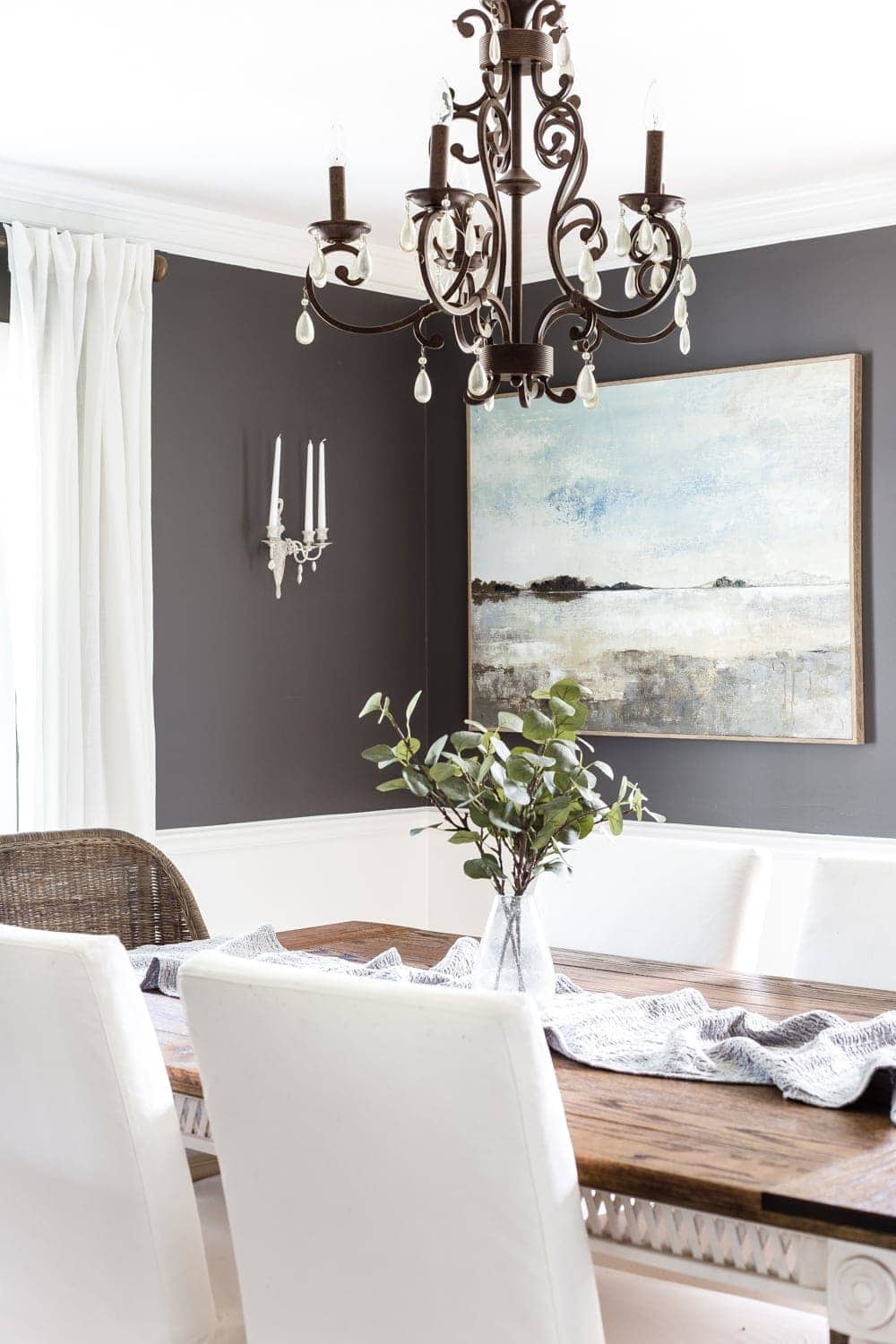 Charcoal and white dining room