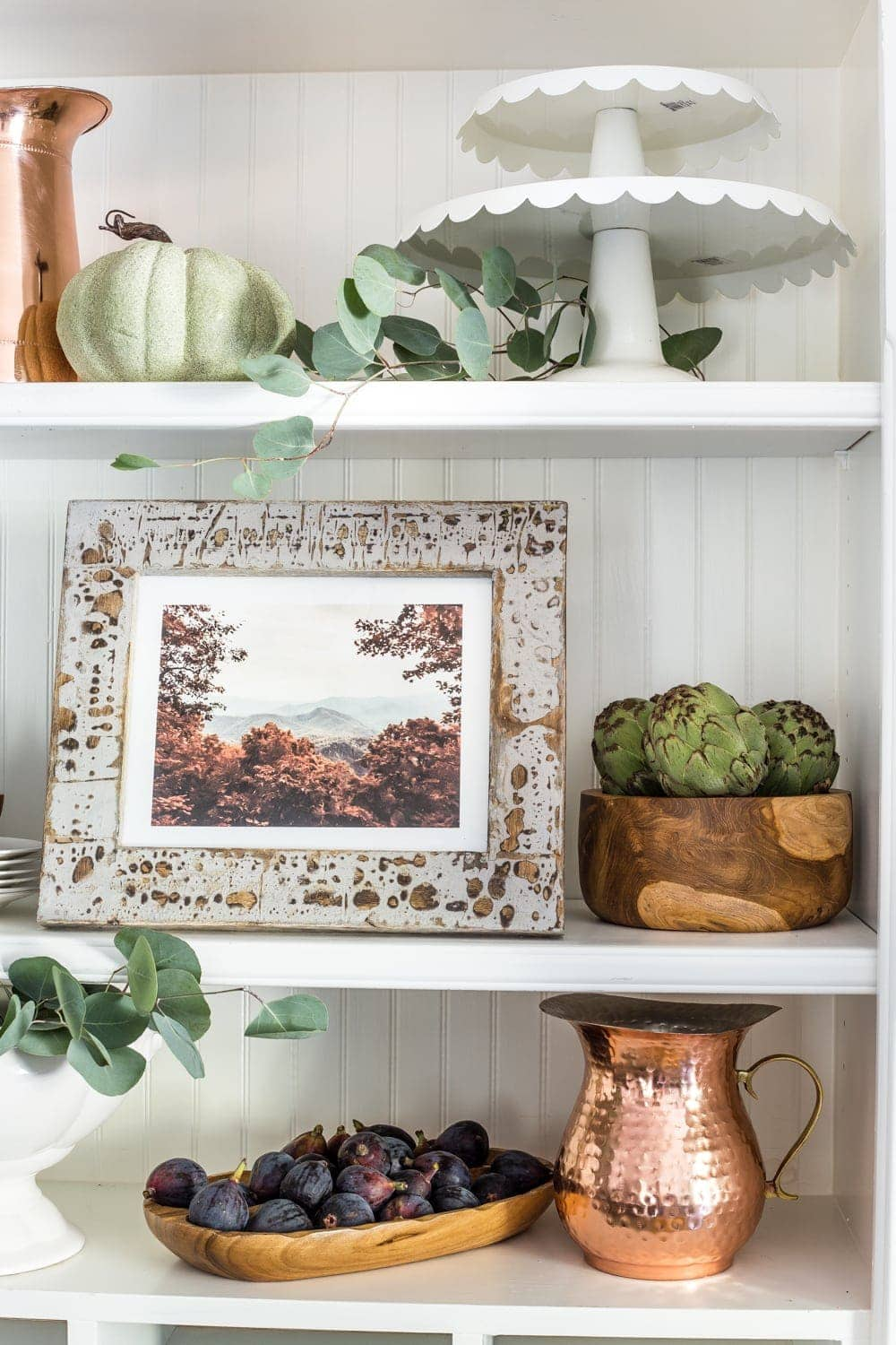 Autumn mountain landscape art printable and fall kitchen shelf vignette + more free fall printables