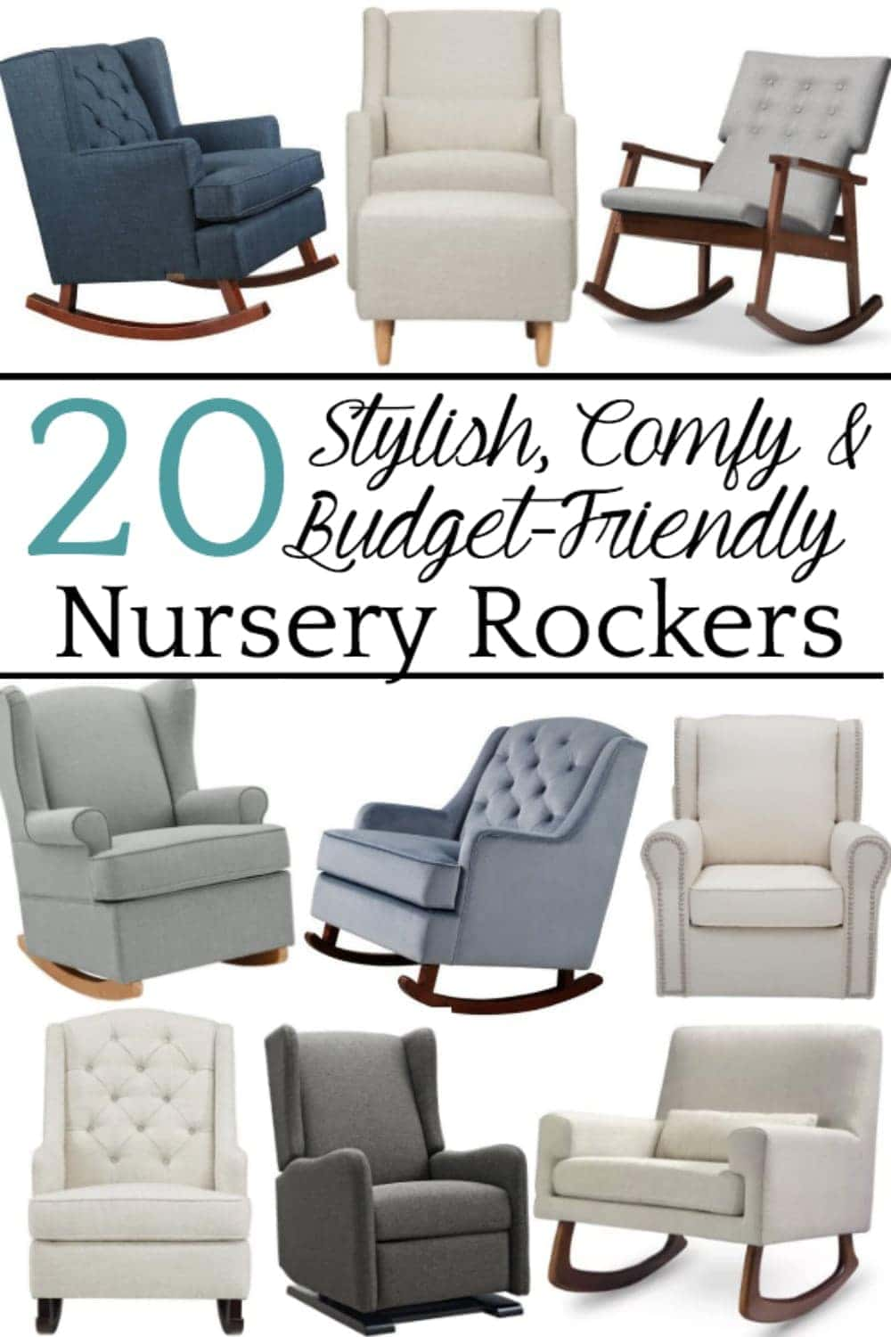 A round-up shopping guide with the highest rated nursery gliders and rocking chairs that have a designer look for less than half the price. #nurseryglider #nurseryrockingchair #nurseryrocker #nursery #nurseryplanning #nurserydecor