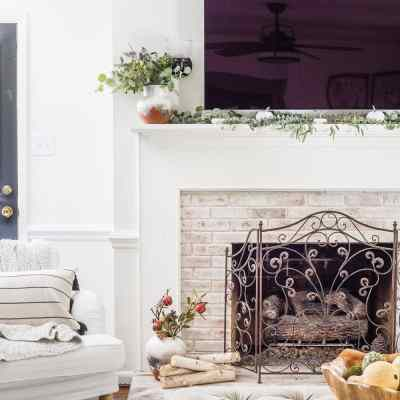 Neutral Fall Mantel Decor Around a TV