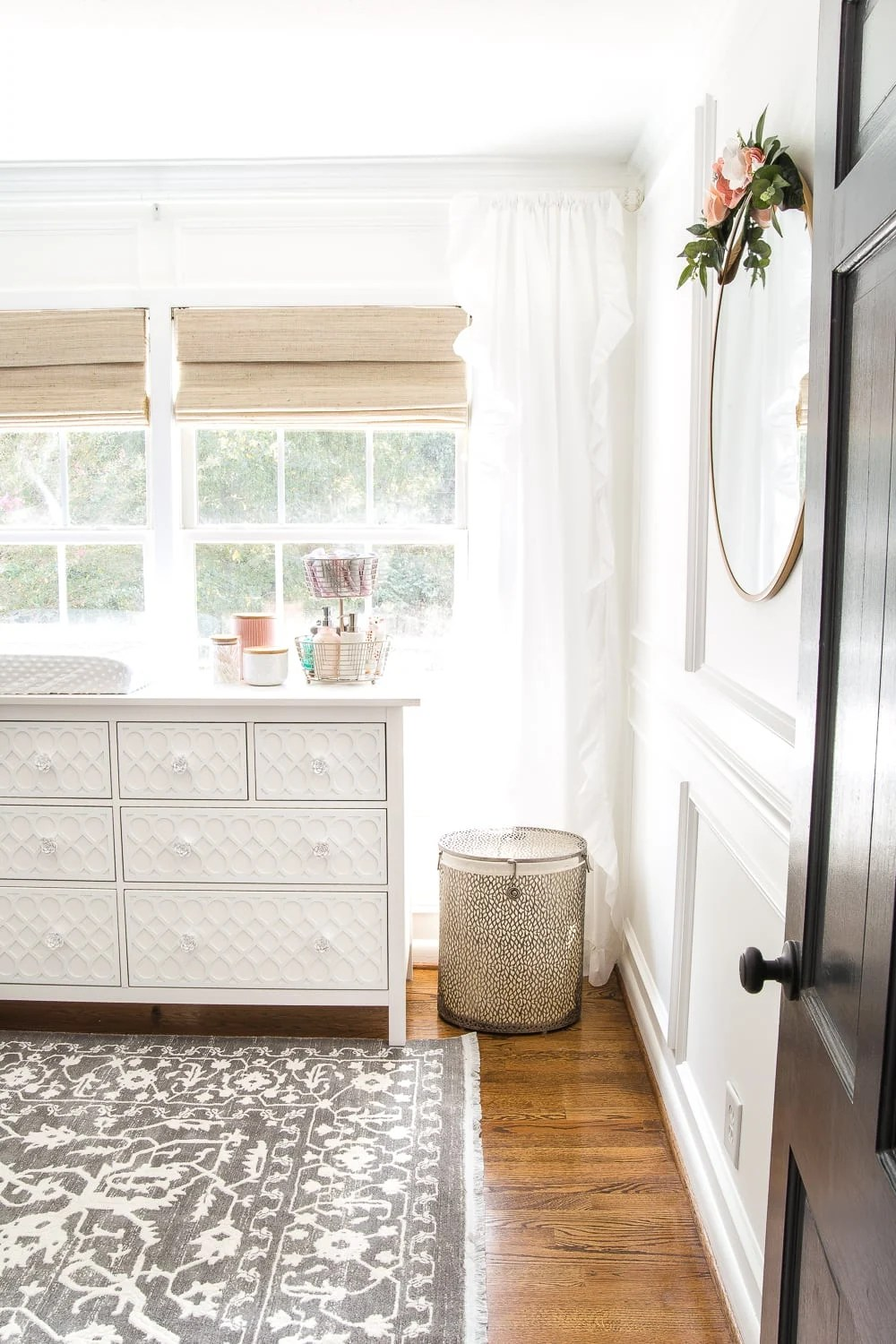 Nursery Organization - hamper, dresser, canisters, and tiered basket