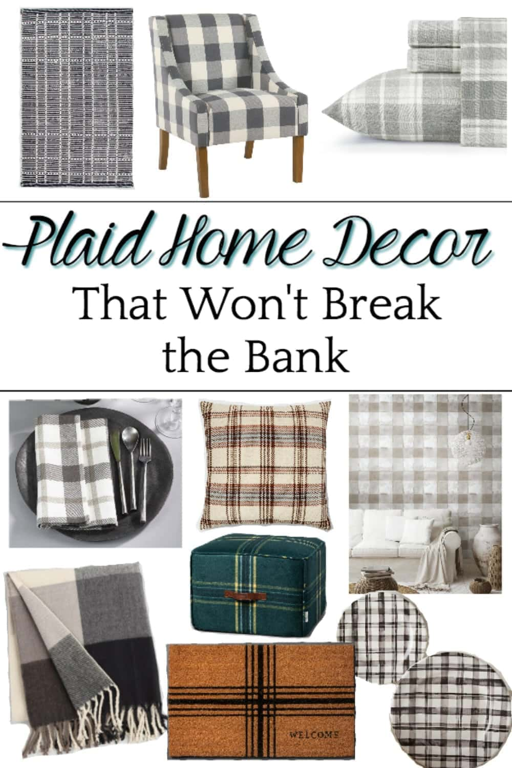 A shopping guide with some of the best resources for plaid home decor to cozy up a room for fall and winter on a budget. #plaidhomedecor