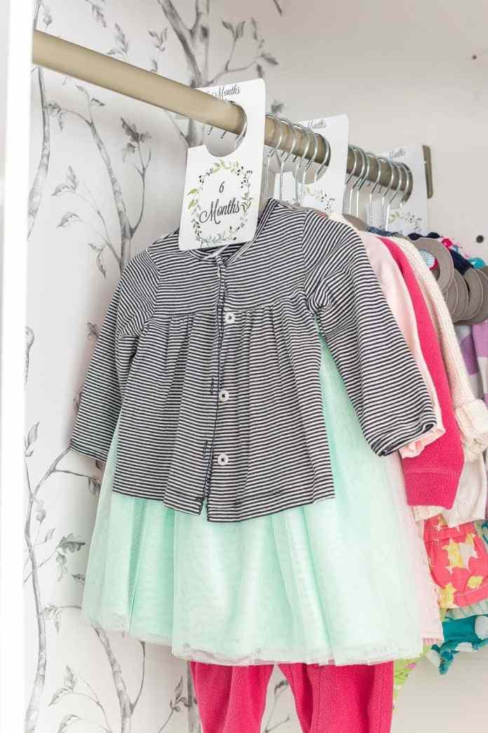 Nursery closet with free printable closet divider tags