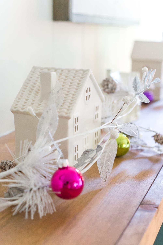 White ceramic house Christmas playroom decorations