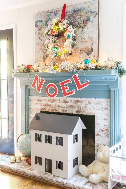 Christmas playroom fireplace mantel