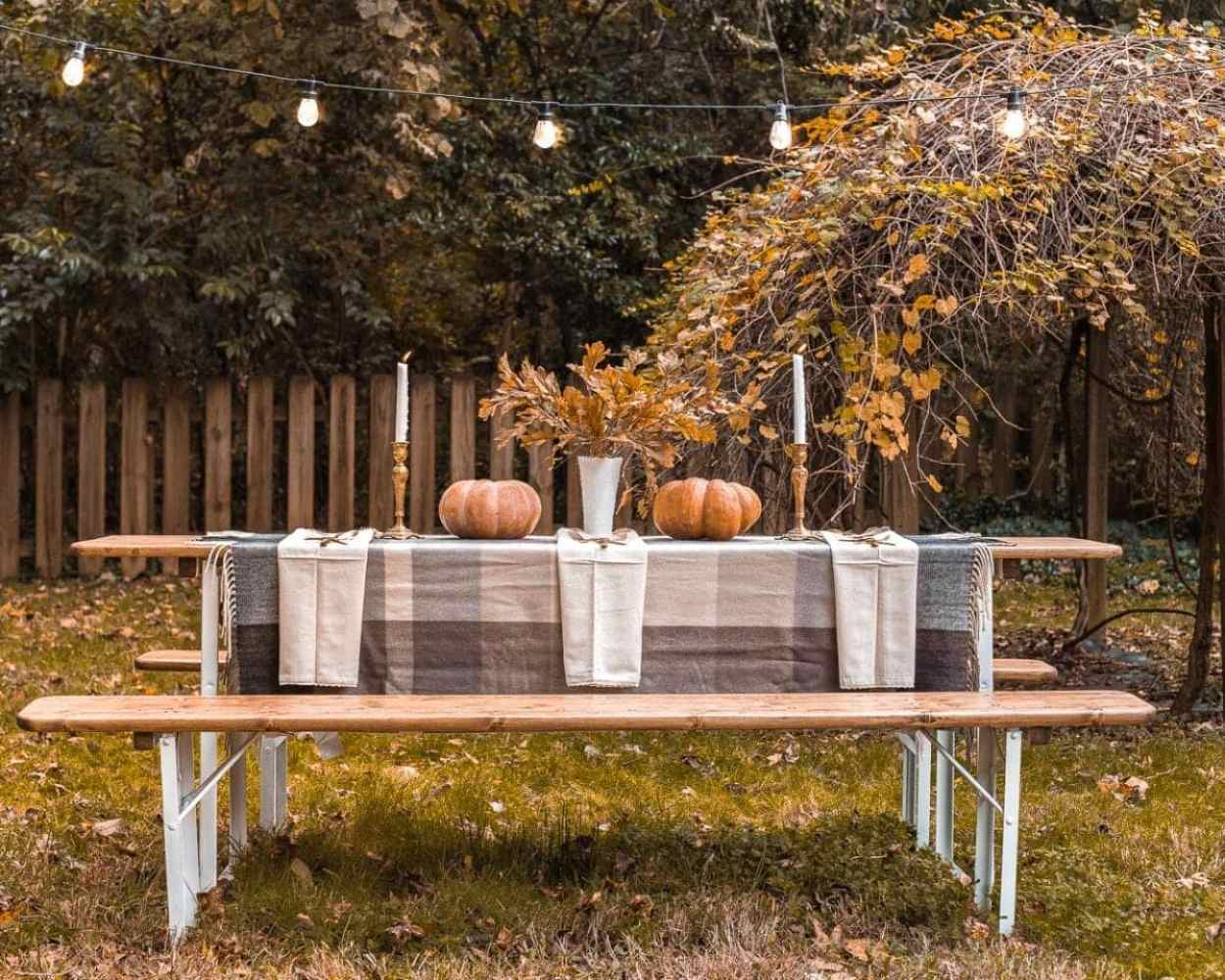 Outdoor beer garden table for Thanksgiving