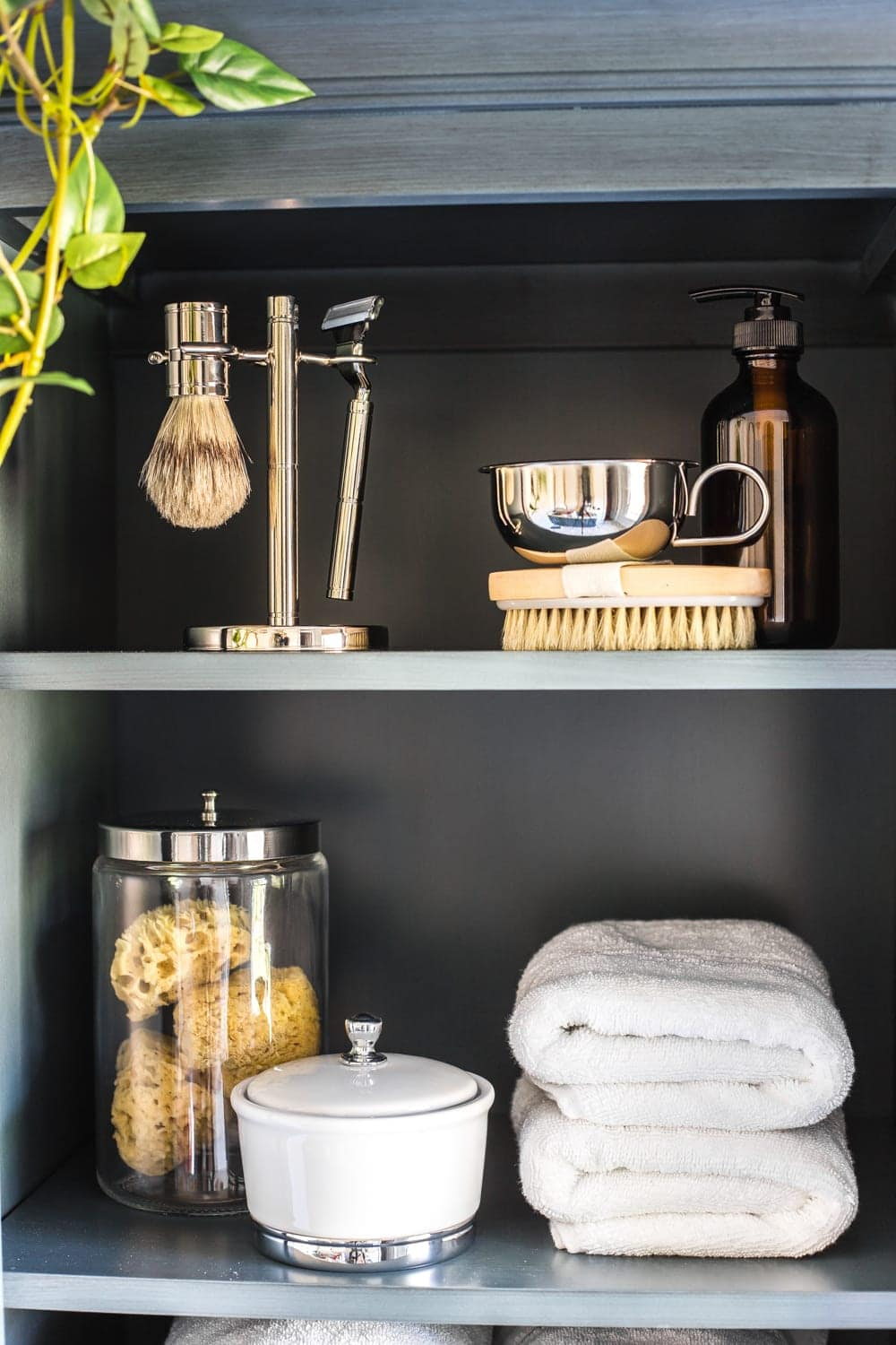Budget Master Bathroom Refresh Reveal | linen cabinet organization