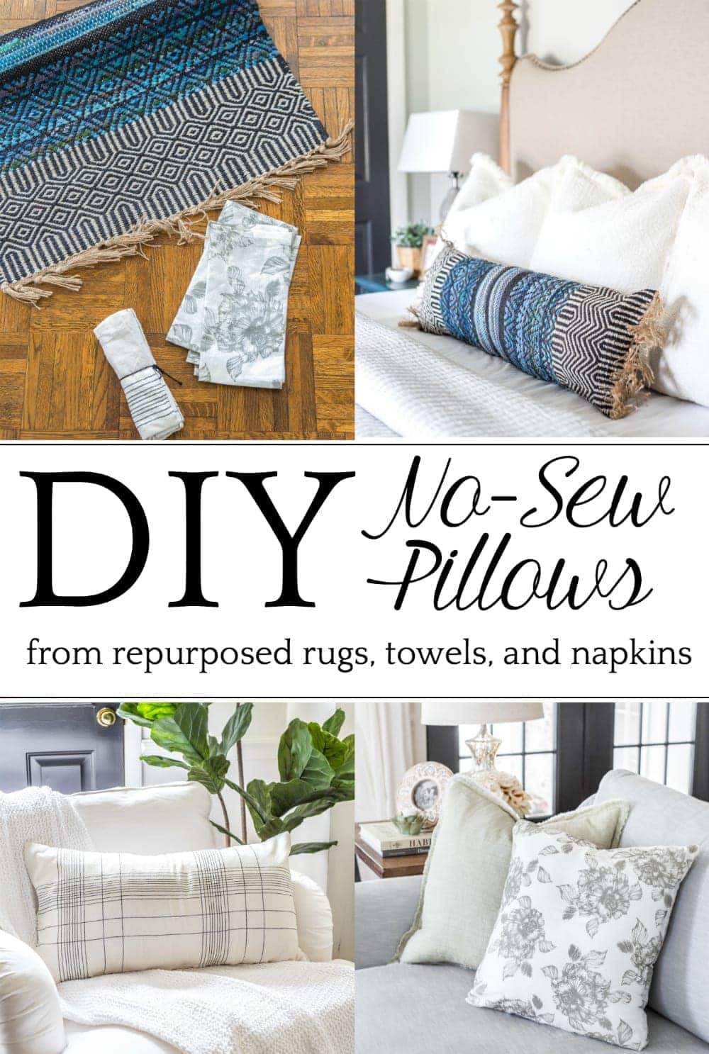 3 items you can repurpose into DIY no-sew throw pillows | Three everyday household items you can use to make inexpensive throw pillows, plus how to do it using a no-sew method in minutes. #throwpillows #repurposing #diypillows #nosew #nosewprojects #nosewcrafts #diydecor #budgetdecor