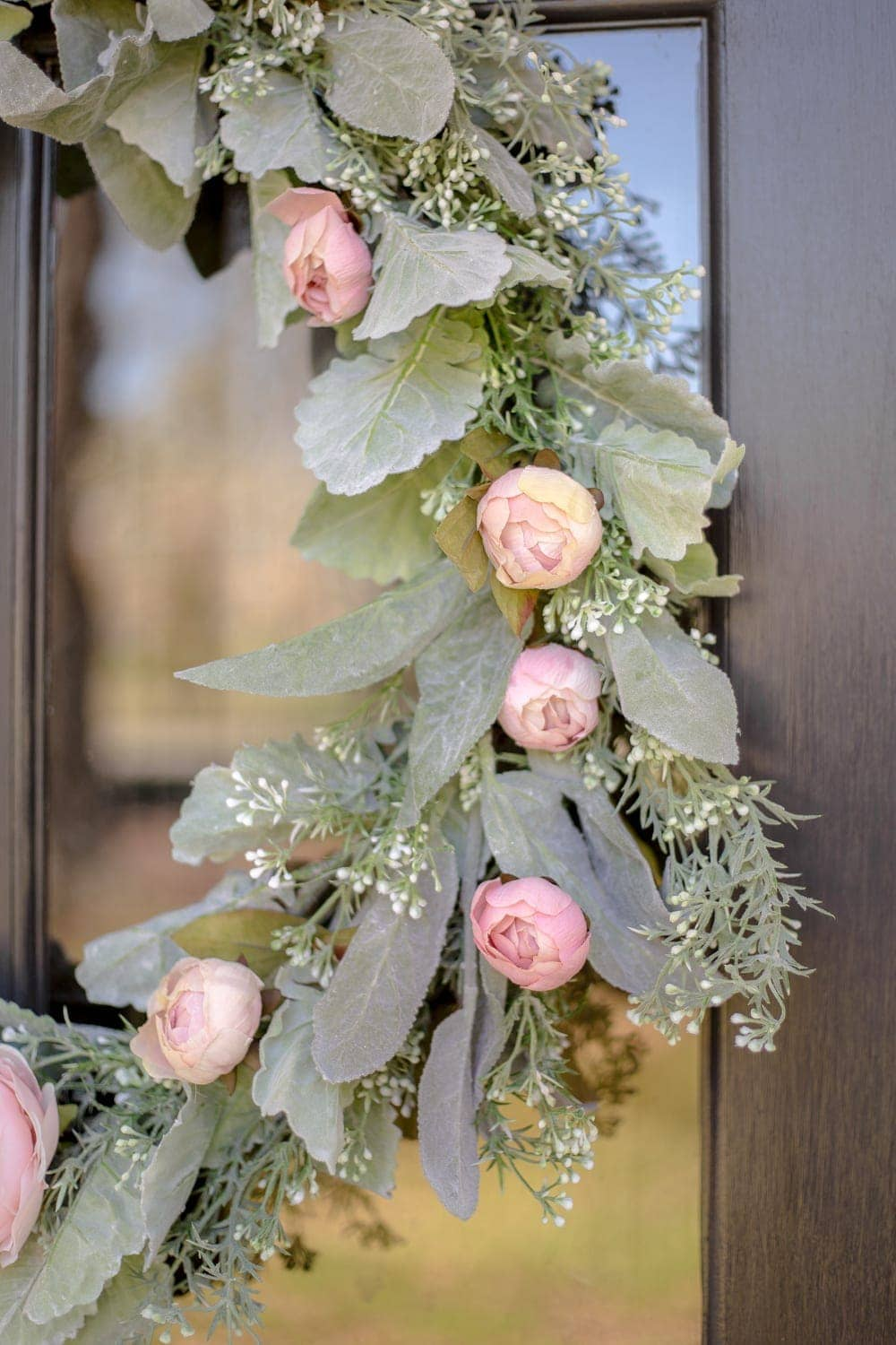 DIY Sage and Blush Spring Wreath | A step-by-step tutorial for making a spring wreath from scratch using artificial sage greenery and blush flowers for soft, romantic style.