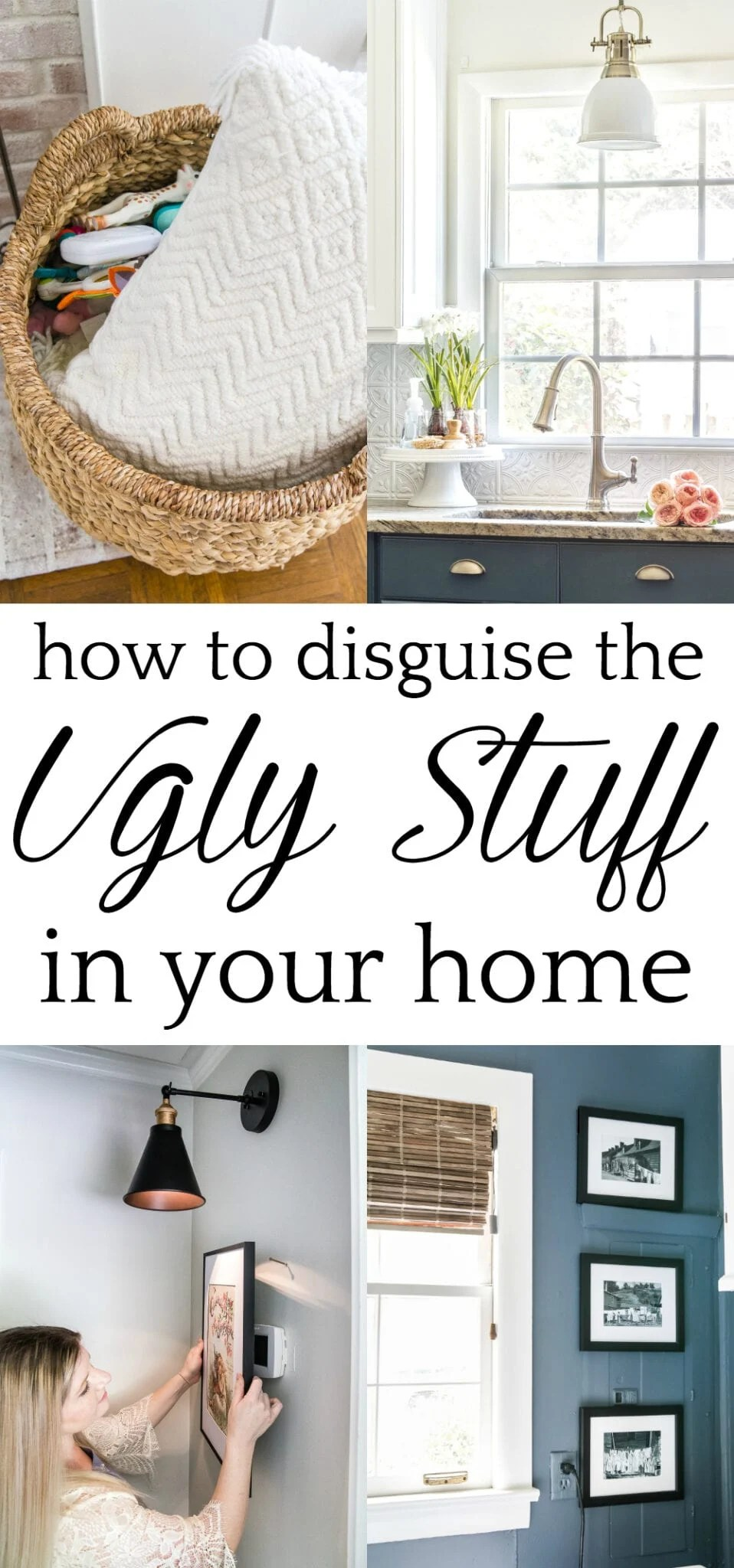 How to Disguise the Ugly Stuff in Your Home | 14 ways to decorate and disguise little eyesores in your home to make the every day pretty and functional. #decorating #disguiseugly