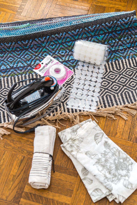 3 items you can repurpose into DIY no-sew throw pillows   rug, kitchen towel, napkins