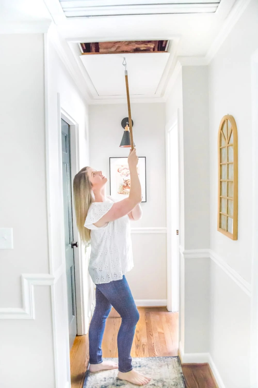How to Replace an Attic Door String with a Hook | blesserhouse.com - A quick tip for improving the look of a hanging cord on an attic door.