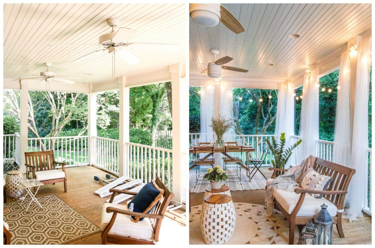 back porch makeover with breezy mosquito net curtains and string lights