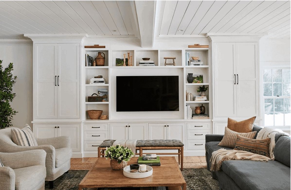 DIY built-ins to disguise a TV