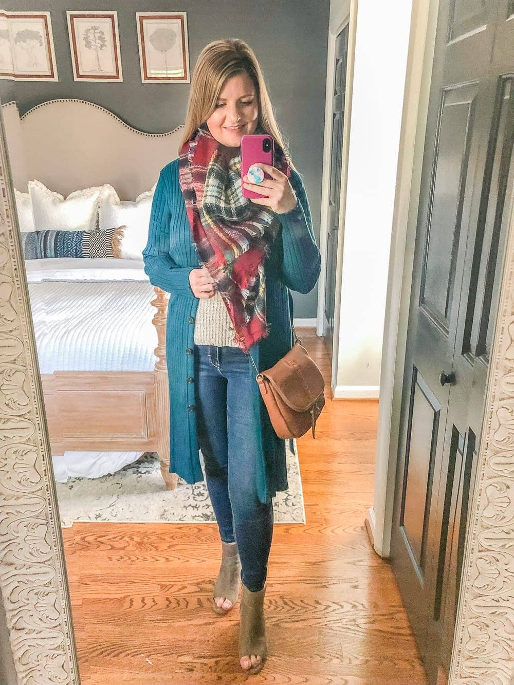 7 Inexpensive Tummy Hiding Mom Friendly Fall Outfits | sweater tank, jeans, long cardigan, plaid scarf, cognac crossbody bag, peep toe block heel booties