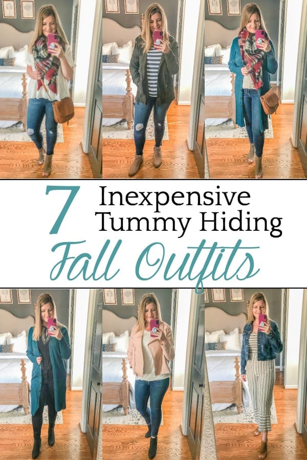 7 Inexpensive Tummy Hiding Fall Outfits | 7 fall outfit ideas and tummy pooch hiding tricks for postpartum / post-menopausal bodies, plus fashion staples that can be mixed and matched.
