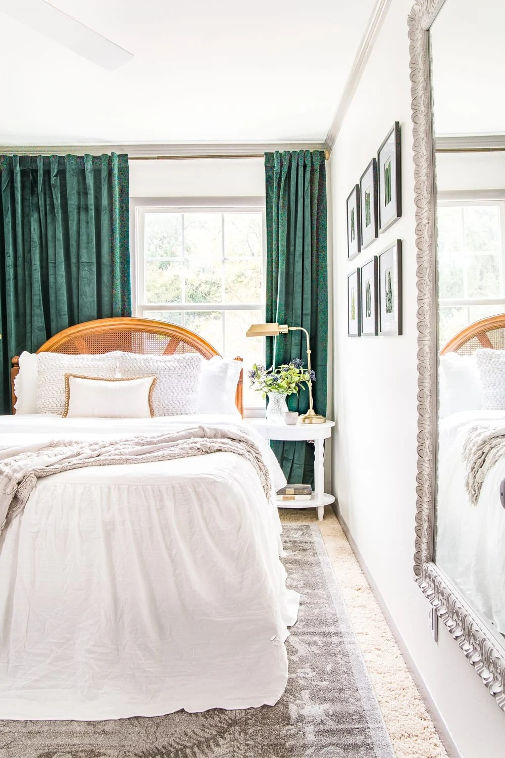 A boring guest bedroom gets a luxe, vintage chic makeover using thrifty projects, budget finds, and simple decorating tricks to maximize style and space. #guestbedroom #bedroominspiration #bedroomdecor