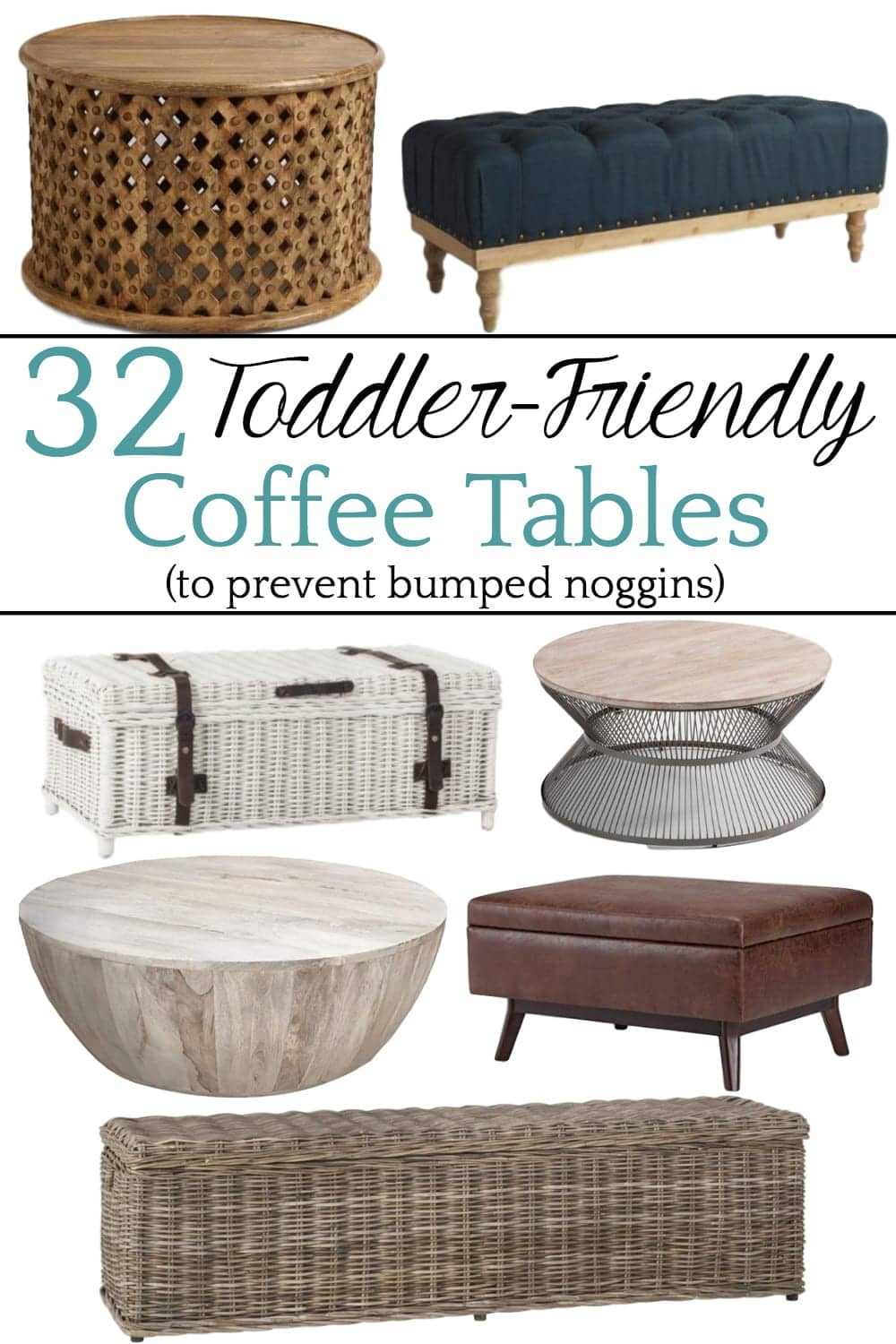 32 of the Best Kid Friendly Coffee Tables | A round-up of the best coffee tables for toddlers and kids with rounded corners, non-breakable materials, easy clean-up from spills, and no tipping.