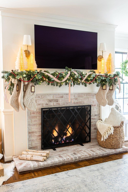 Christmas decor ideas | Christmas mantel decor with TV