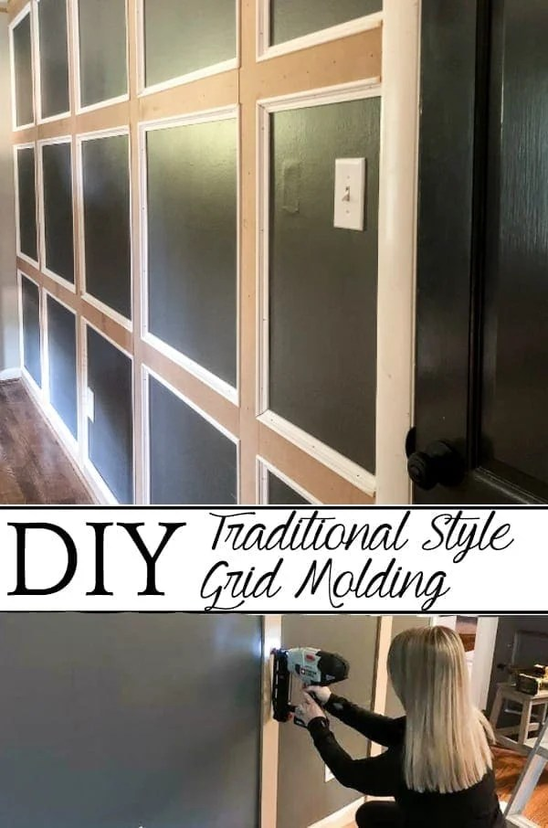 DIY Traditional Style Grid Molding Focal Wall | How to build a traditional style board and batten grid molding focal wall to add character and depth to any room. #gridmolding #boardandbatten