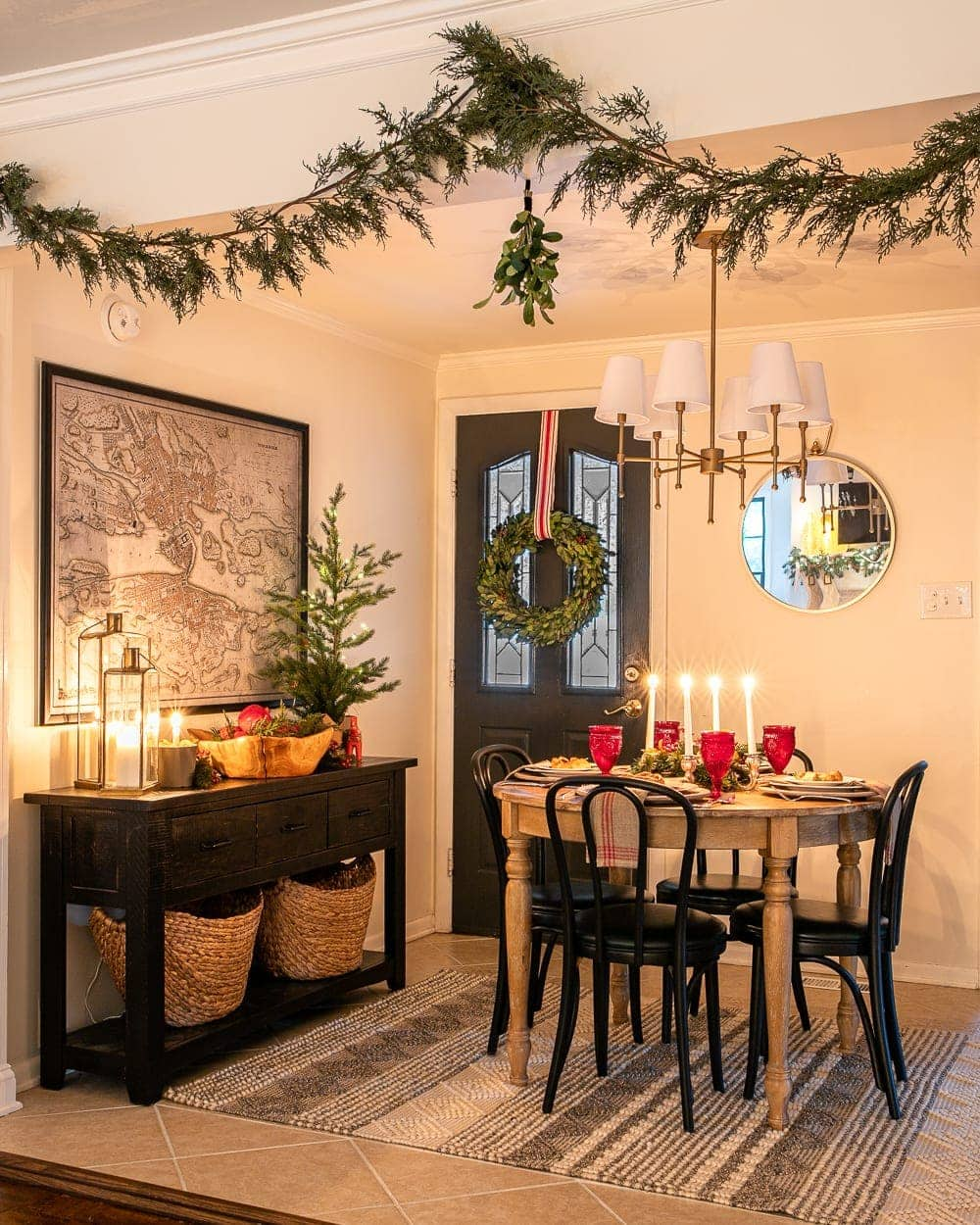 Christmas breakfast nook at night