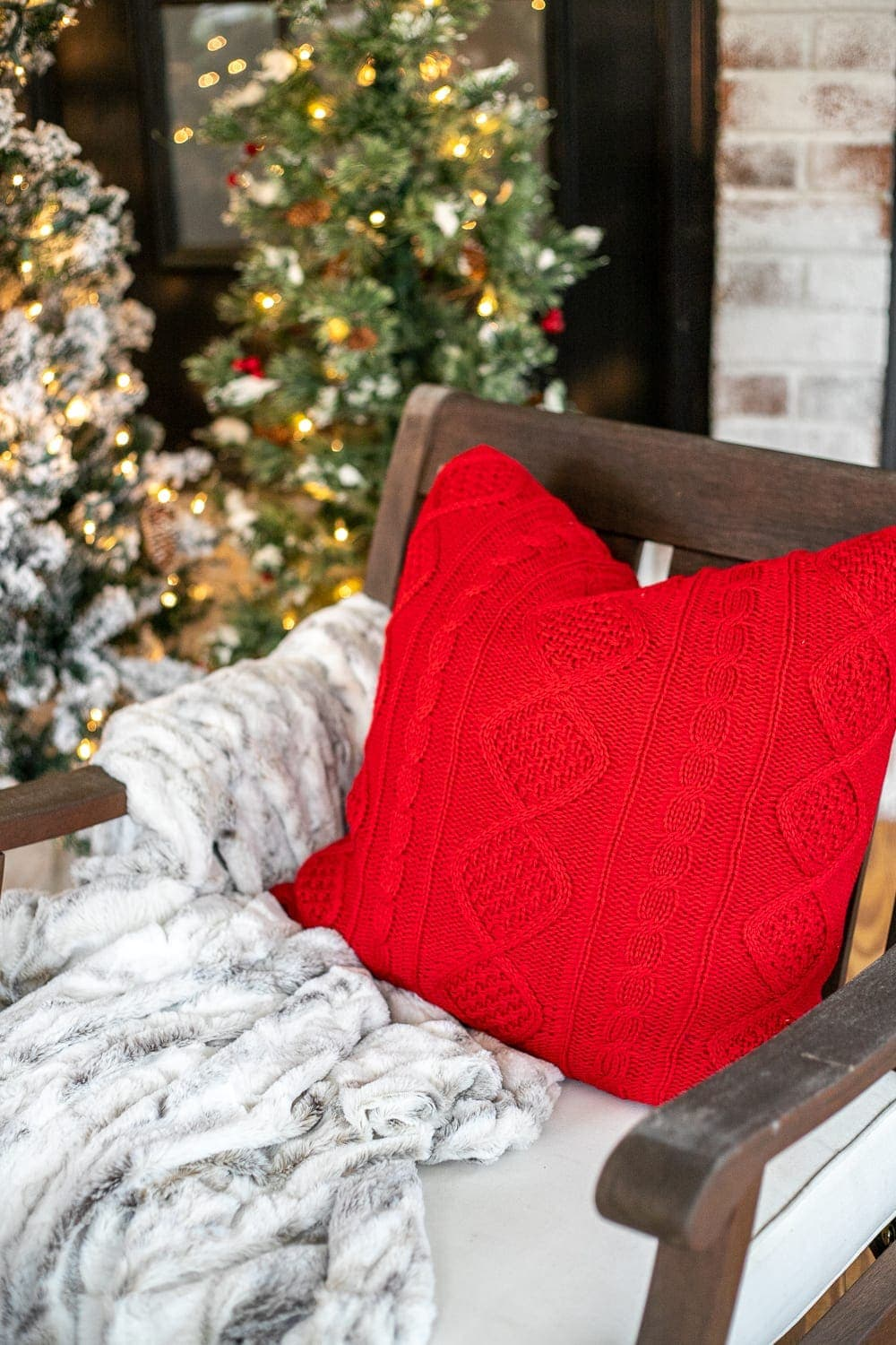 Cozy Christmas throw pillow and faux fur blanket