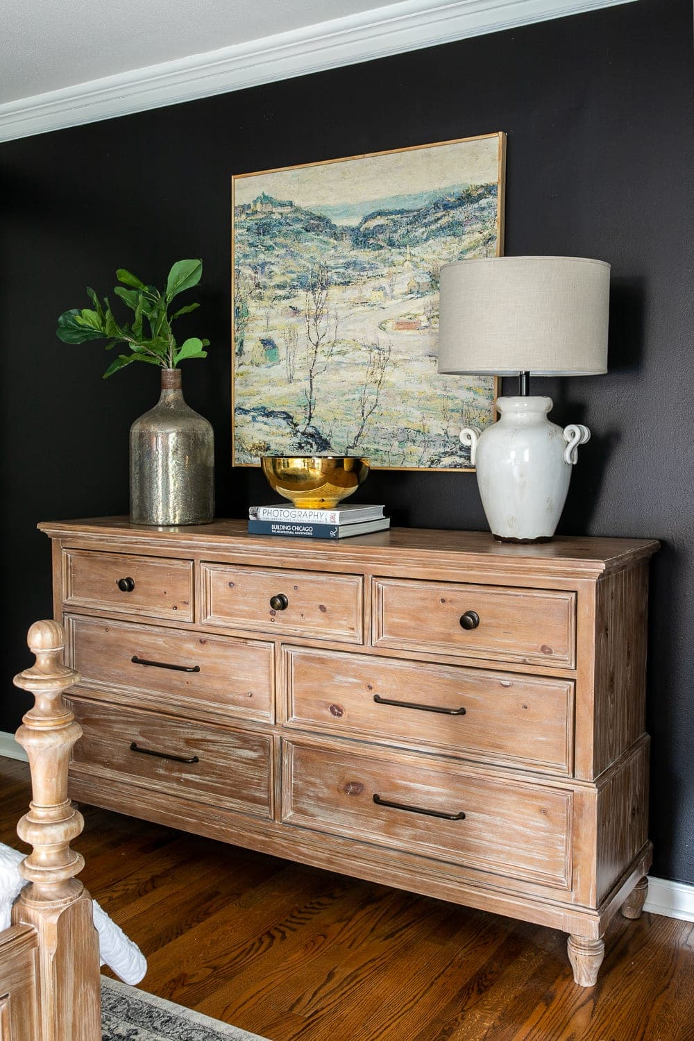 DIY large scale art for under $50 and master bedroom dresser
