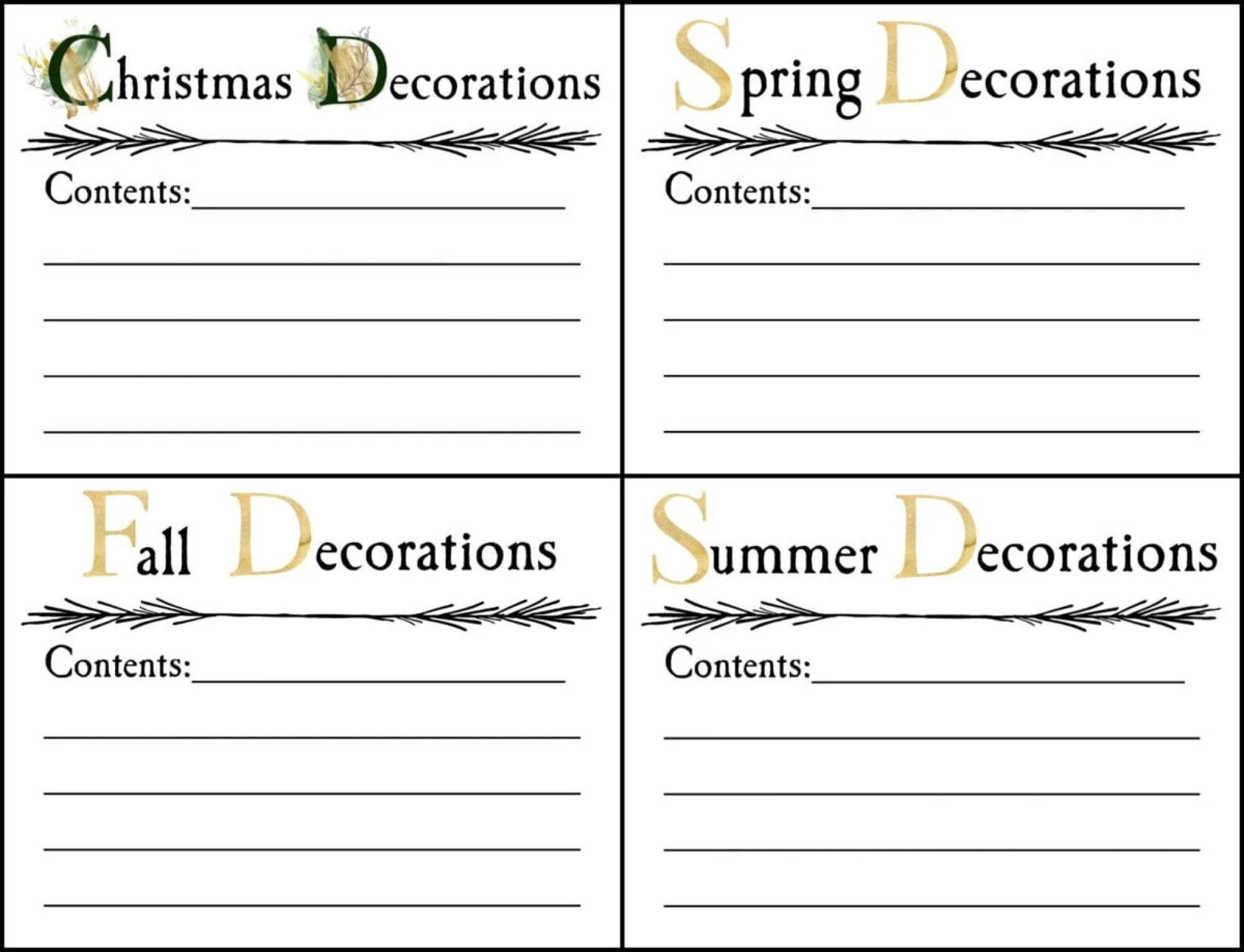 seasonal storage bin labels printable
