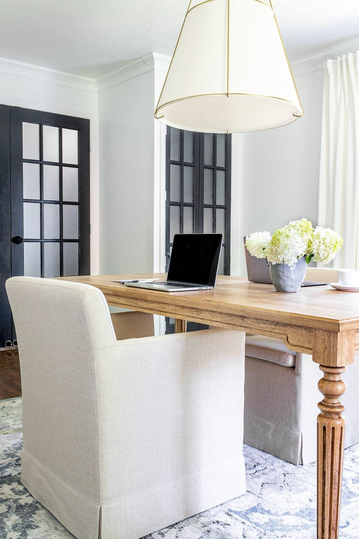 home office decor with work table and French doors